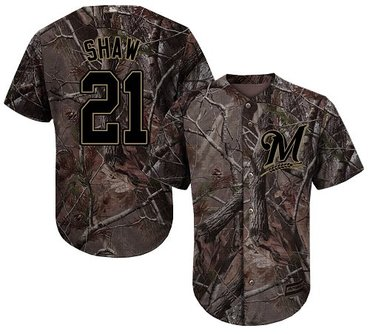 Brewers #21 Travis Shaw Camo Realtree Collection Cool Base Stitched Youth Baseball Jersey