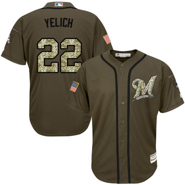 Brewers #22 Christian Yelich Green Salute to Service Stitched Youth MLB Jersey