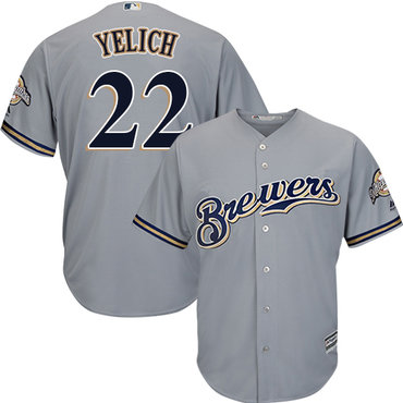 Brewers #22 Christian Yelich Grey Cool Base Stitched Youth MLB Jersey