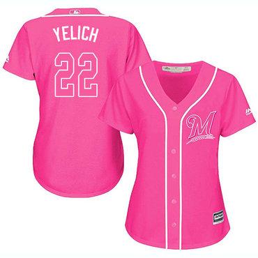 Brewers #22 Christian Yelich Pink Fashion Women's Stitched MLB Jersey