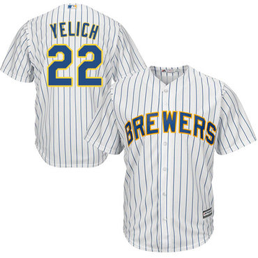 Brewers #22 Christian Yelich White Strip Cool Base Stitched Youth MLB Jersey