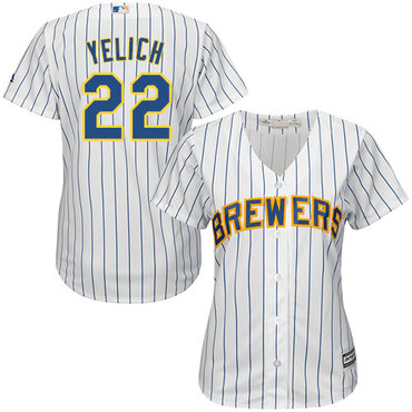 Brewers #22 Christian Yelich White Strip Home Women's Stitched MLB Jersey