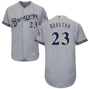 Brewers #23 Keon Broxton Grey Flexbase Authentic Collection Stitched Baseball Jersey