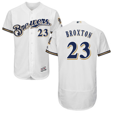 Brewers #23 Keon Broxton White Flexbase Authentic Collection Stitched Baseball Jersey