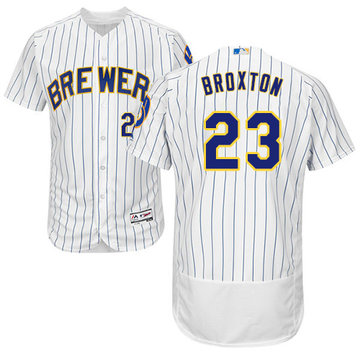 Brewers #23 Keon Broxton White Strip Flexbase Authentic Collection Stitched Baseball Jersey