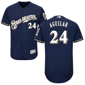 Brewers #24 Jesus Aguilar Navy Blue Flexbase Authentic Collection Stitched Baseball Jersey