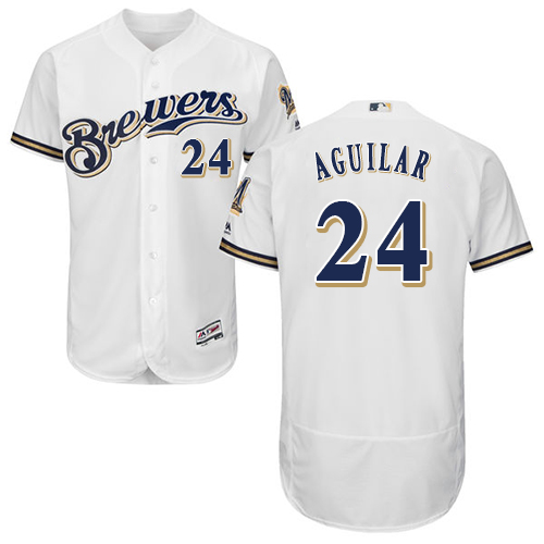 Brewers #24 Jesus Aguilar White Flexbase Authentic Collection Stitched Baseball Jersey