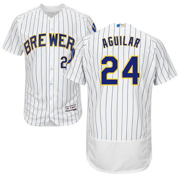 Brewers #24 Jesus Aguilar White Strip Flexbase Authentic Collection Stitched Baseball Jersey