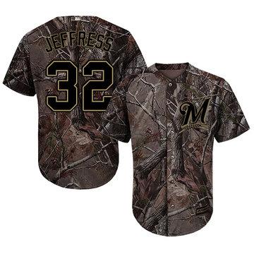 Brewers #32 Jeremy Jeffress Camo Realtree Collection Cool Base Stitched Baseball Jersey