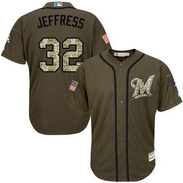 Brewers #32 Jeremy Jeffress Green Salute to Service Stitched Baseball Jersey