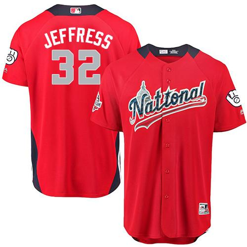 Brewers #32 Jeremy Jeffress Red 2018 All-Star National League Stitched Baseball Jersey
