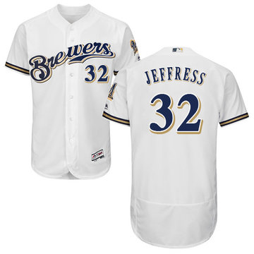 Brewers #32 Jeremy Jeffress White Flexbase Authentic Collection Stitched Baseball Jersey