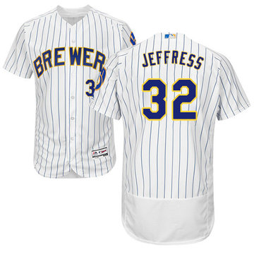 Brewers #32 Jeremy Jeffress White Strip Flexbase Authentic Collection Stitched Baseball Jersey