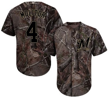 Brewers #4 Paul Molitor Camo Realtree Collection Cool Base Stitched Youth Baseball Jersey