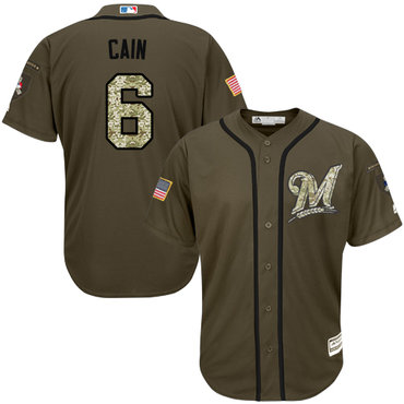 Brewers #6 Lorenzo Cain Green Salute to Service Stitched Youth MLB Jersey