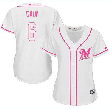 Brewers #6 Lorenzo Cain White Pink Fashion Women's Stitched MLB Jersey