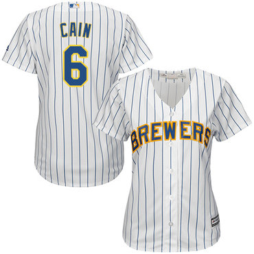 Brewers #6 Lorenzo Cain White Strip Home Women's Stitched MLB Jersey