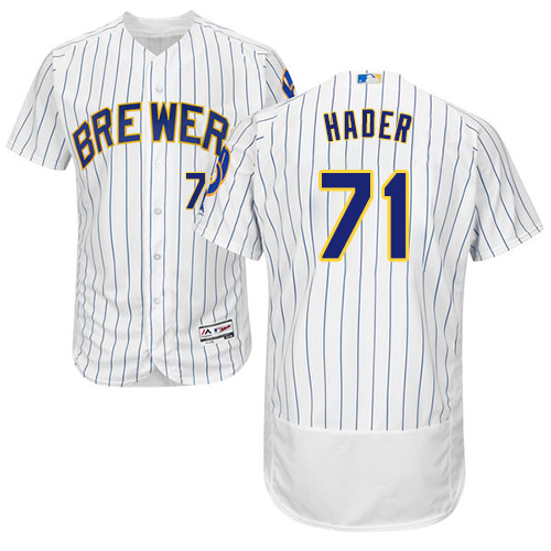 Brewers #71 Josh Hader White Strip Flexbase Authentic Collection Stitched Baseball Jersey