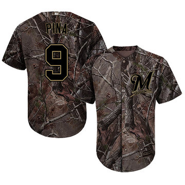 Brewers #9 Manny Pina Camo Realtree Collection Cool Base Stitched Baseball Jersey