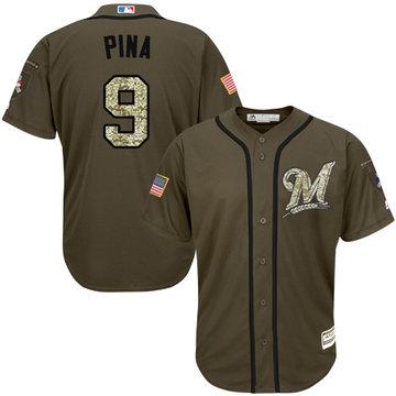 Brewers #9 Manny Pina Green Salute to Service Stitched Baseball Jersey