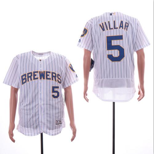 Brewers 5 Jonathan Villar White Flexbase Jersey