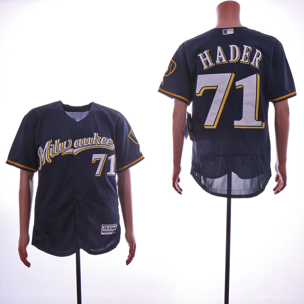 Brewers 71 Josh Hader Navy Cool Base Jersey