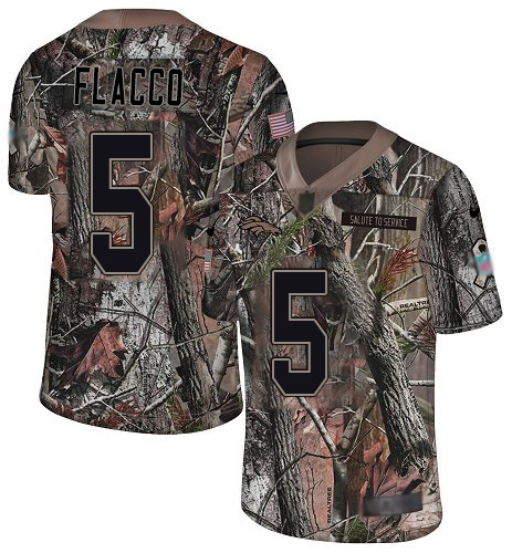 Broncos #5 Joe Flacco Camo Men's Stitched Football Limited Rush Realtree Jersey