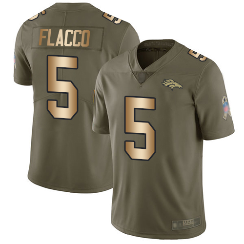 Broncos #5 Joe Flacco Olive Gold Youth Stitched Football Limited 2017 Salute to Service Jersey
