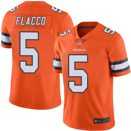 Broncos #5 Joe Flacco Orange Men's Stitched Football Limited Rush Jersey