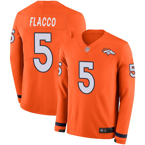 Broncos #5 Joe Flacco Orange Team Color Men's Stitched Football Limited Therma Long Sleeve Jersey