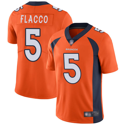 Broncos #5 Joe Flacco Orange Team Color Men's Stitched Football Vapor Untouchable Limited Jersey