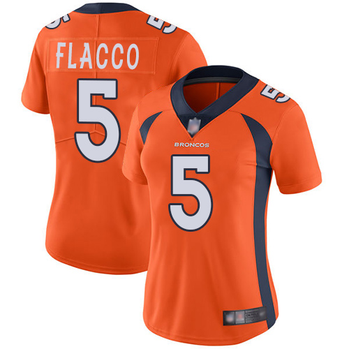 Broncos #5 Joe Flacco Orange Team Color Women's Stitched Football Vapor Untouchable Limited Jersey