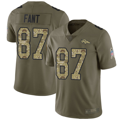 Broncos #87 Noah Fant Olive Camo Men's Stitched Football Limited 2017 Salute To Service Jersey