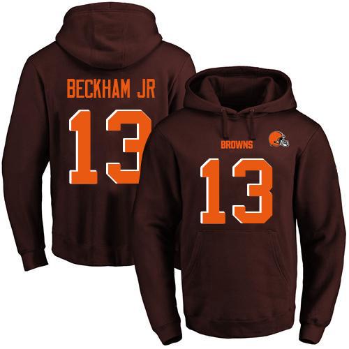 Browns #13 Odell Beckham Jr Brown Name & Number Pullover Football Hoodie