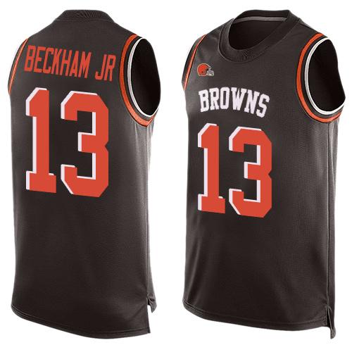 Browns #13 Odell Beckham Jr Brown Team Color Men's Stitched Football Limited Tank Top Jersey