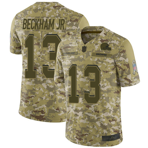 Browns #13 Odell Beckham Jr Camo Men's Stitched Football Limited 2018 Salute To Service Jersey