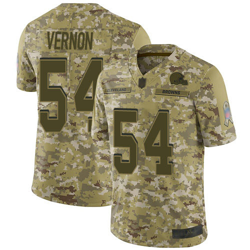 Browns #54 Olivier Vernon Camo Youth Stitched Football Limited 2018 Salute to Service Jersey