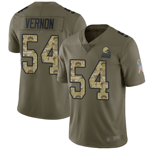 Browns #54 Olivier Vernon Olive Camo Men's Stitched Football Limited 2017 Salute To Service Jersey