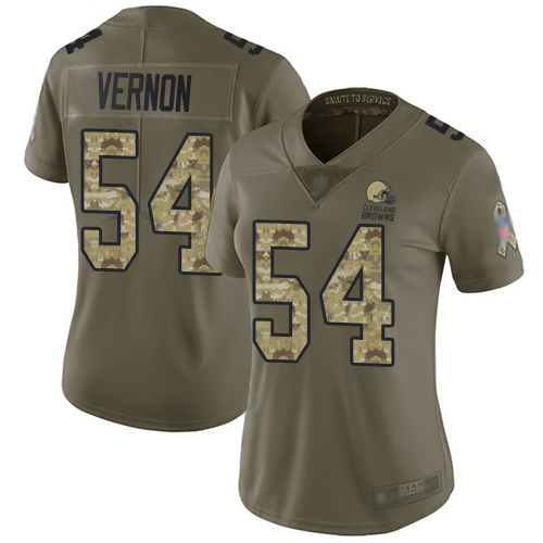 Browns #54 Olivier Vernon Olive Camo Women's Stitched Football Limited 2017 Salute to Service Jersey