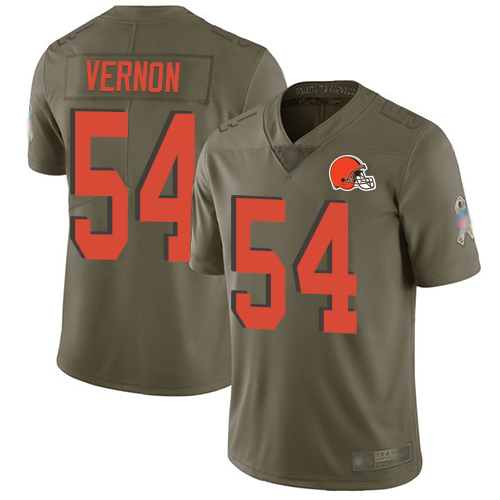 Browns #54 Olivier Vernon Olive Men's Stitched Football Limited 2017 Salute To Service Jersey