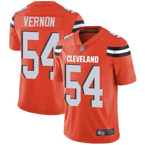 Browns #54 Olivier Vernon Orange Alternate Men's Stitched Football Vapor Untouchable Limited Jersey