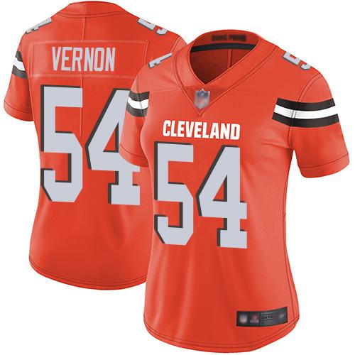 Browns #54 Olivier Vernon Orange Alternate Women's Stitched Football Vapor Untouchable Limited Jersey