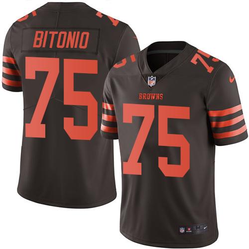 Browns #75 Joel Bitonio Brown Men's Stitched Football Limited Rush Jersey