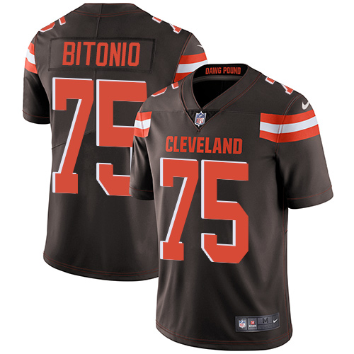 Browns #75 Joel Bitonio Brown Team Color Men's Stitched Football Vapor Untouchable Limited Jersey