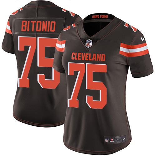 Browns #75 Joel Bitonio Brown Team Color Women's Stitched Football Vapor Untouchable Limited Jersey
