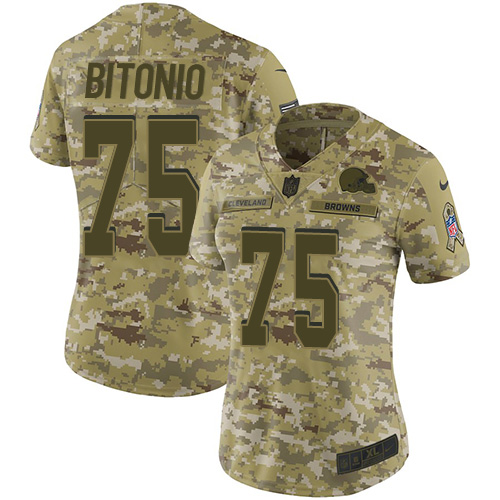 Browns #75 Joel Bitonio Camo Women's Stitched Football Limited 2018 Salute to Service Jersey