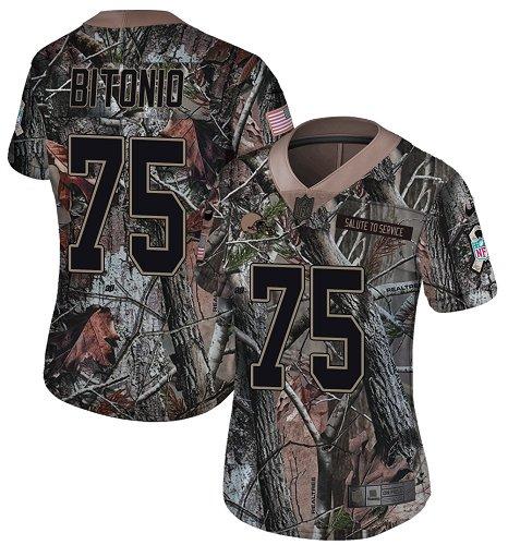 Browns #75 Joel Bitonio Camo Women's Stitched Football Limited Rush Realtree Jersey