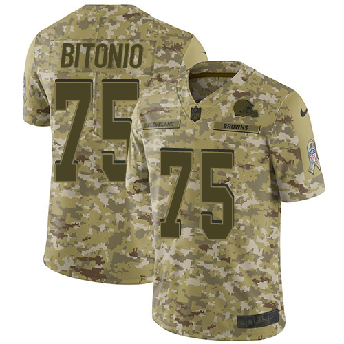 Browns #75 Joel Bitonio Camo Youth Stitched Football Limited 2018 Salute to Service Jersey