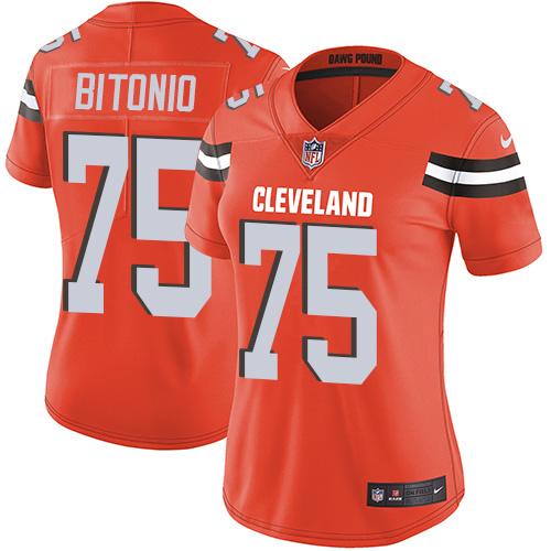 Browns #75 Joel Bitonio Orange Alternate Women's Stitched Football Vapor Untouchable Limited Jersey