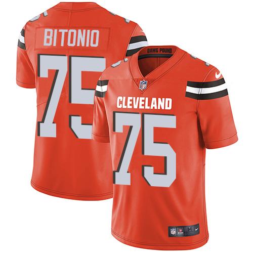 Browns #75 Joel Bitonio Orange Alternate Youth Stitched Football Vapor Untouchable Limited Jersey